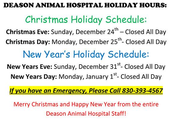 Deason Animal Hospital Holiday Schedule